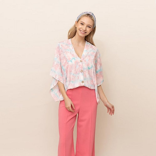 DO EVERYTHING IN LOVE BUTTON UP KIMONO TOP TIE DYE