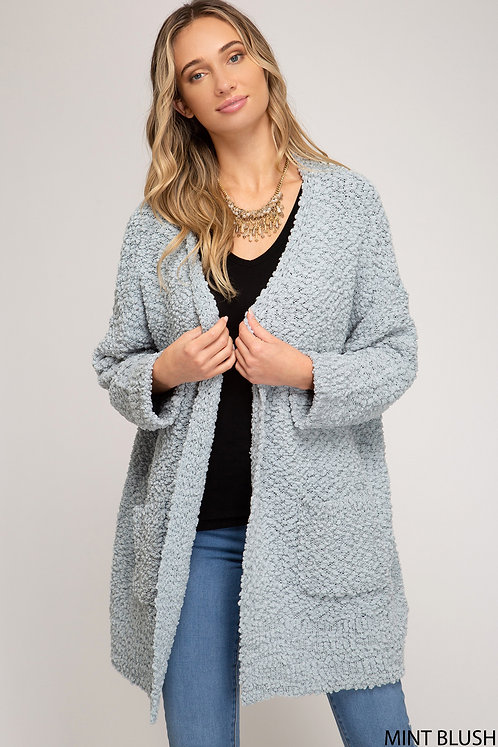 SHE AND SKY MINT BLUSH FUZZY CARDIGAN