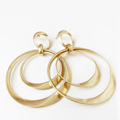 CARACOL LONG GOLD CIRCLE EARRINGS