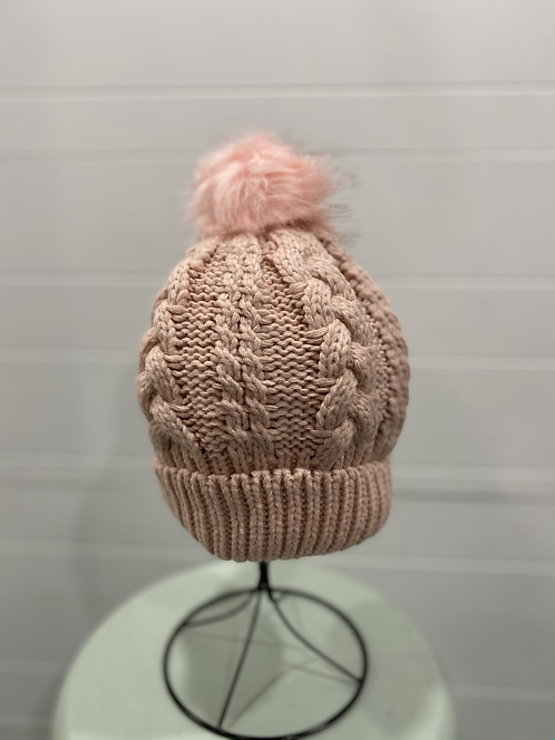 PINK CABLE KNIT TOQUE WITH PINK POMPOM