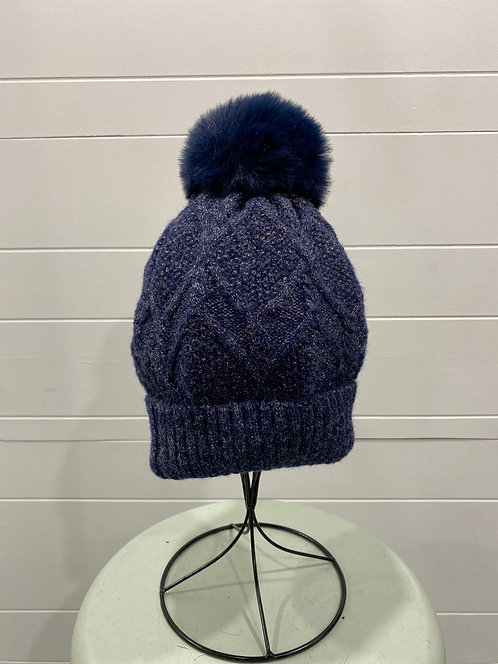 NAVY BLUE TOQUE WITH GOLD SEQUINS