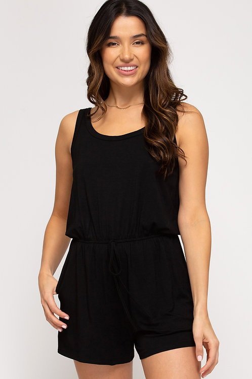 SHE & SKY SLEEVELESS KNIT ROMPER WITH SIDE POCKETS AND WAIST TIE