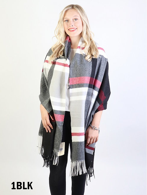 GRAND SCARF BLACK/RED PLAID