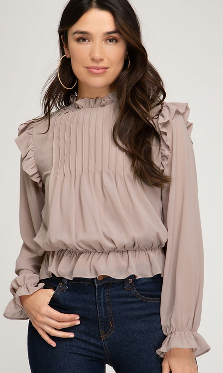 SHE AND SKY RUFFLED PLEATED TOP