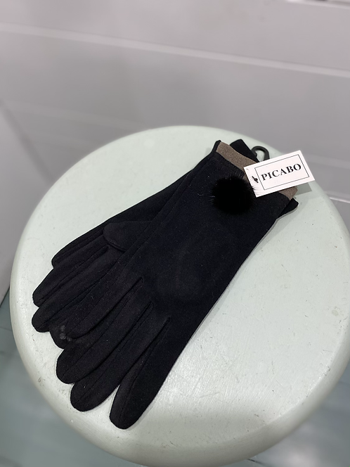 PICABO BLACK SUEDE TEXTING GLOVES WITH FURRY BALL