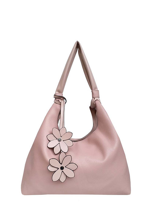 PASSIONS PINK PURSE WITH FLOWER DETAIL