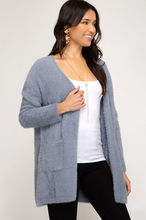 SHE AND SKY FUZZY CARDIGAN BLUE WITH POCKETS