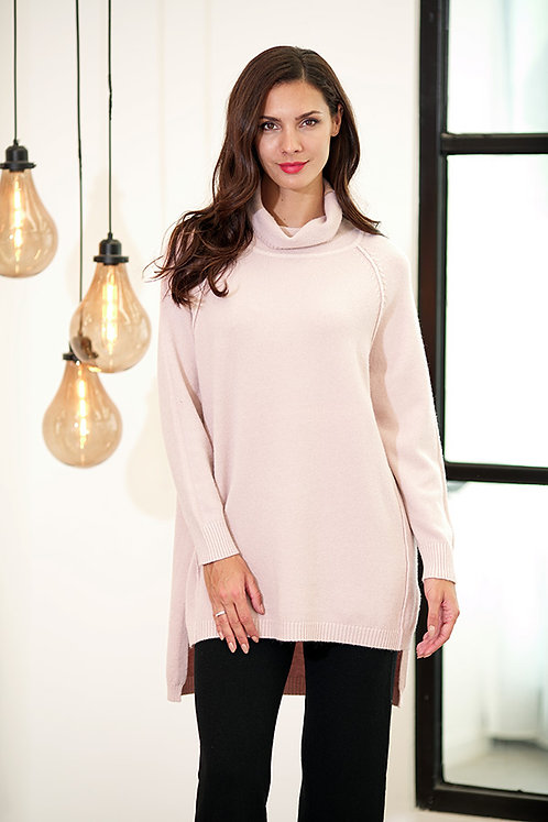 HIGH LOW SWEATER TUNIC SOFT PINK