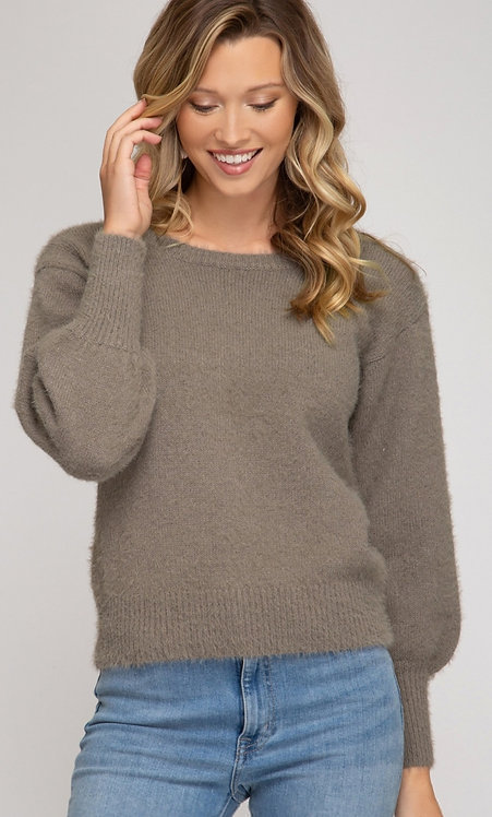 SHE AND SKY BALLOON SLEEVE FUZZY KNIT SWEATER