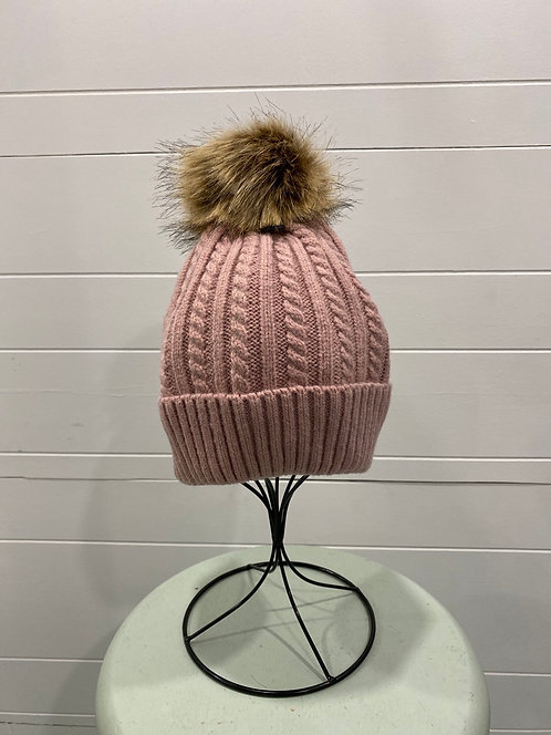 PINK CABLE KNIT TOQUE WITHOUT INSIDE LINING