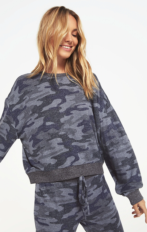 Z SUPPLY MARLED BLUE CAMO SWEATER TOP