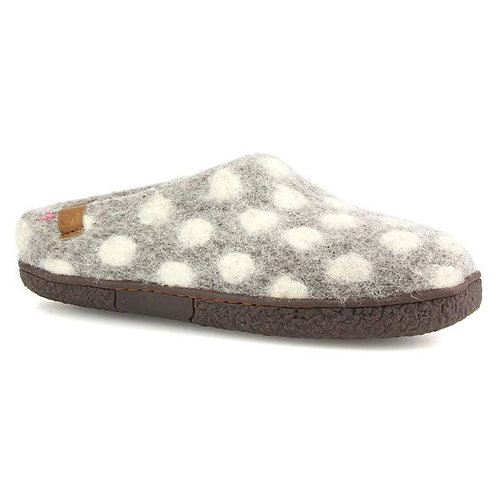 SOLEMIO WOOL SLIPPER GREY POKADOT