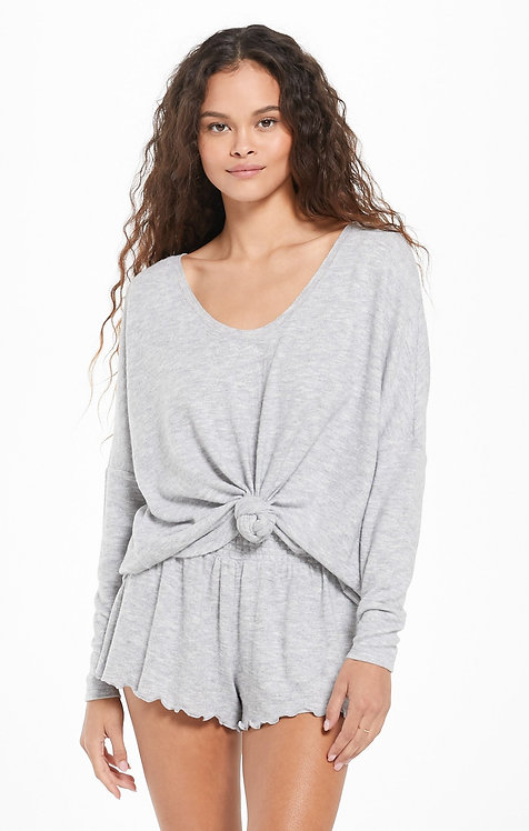 Z SUPPLY HANG OUT LONG SLEEVE TOP HEATHER GREY