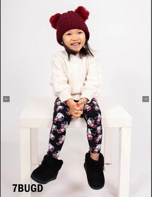 BURGUNDY DOUBLE POMPOM KIDS HAT