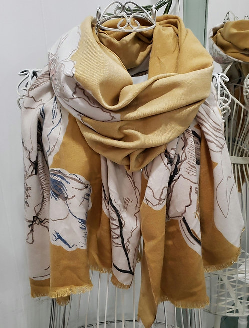 PICABO MUSTARD FLORAL SCARF