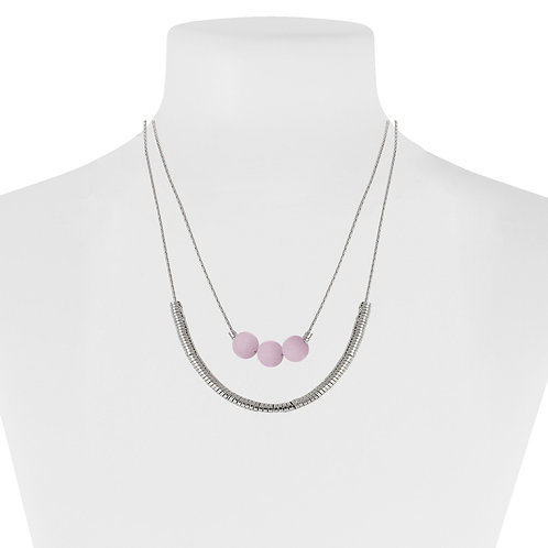 CARACOL SILVER NECKLACE WITH PINK NATURAL STONES