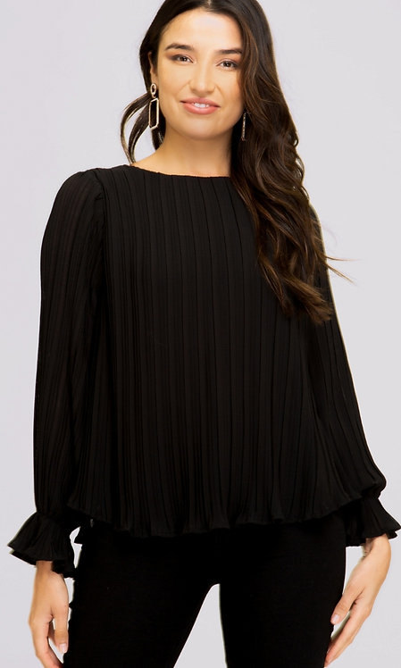 SHE AND SKY PLEATED TOP WITH RUFFLE LONG SLEEVE