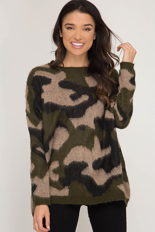 SHE AND SKY OLIVE CAMO SWEATER