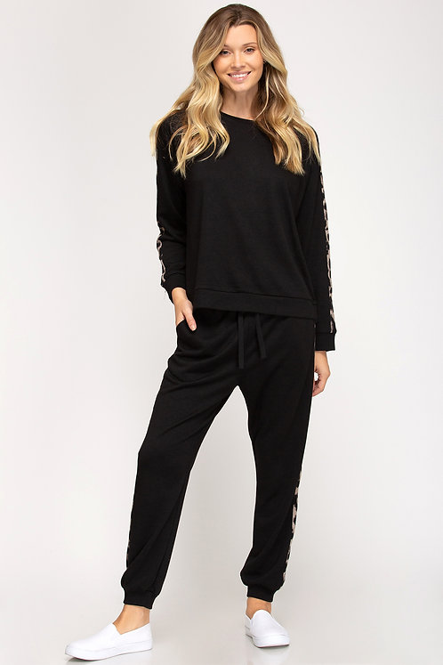 SHE AND SKY FRENCH TERRY LOUNGE PANT BLACK