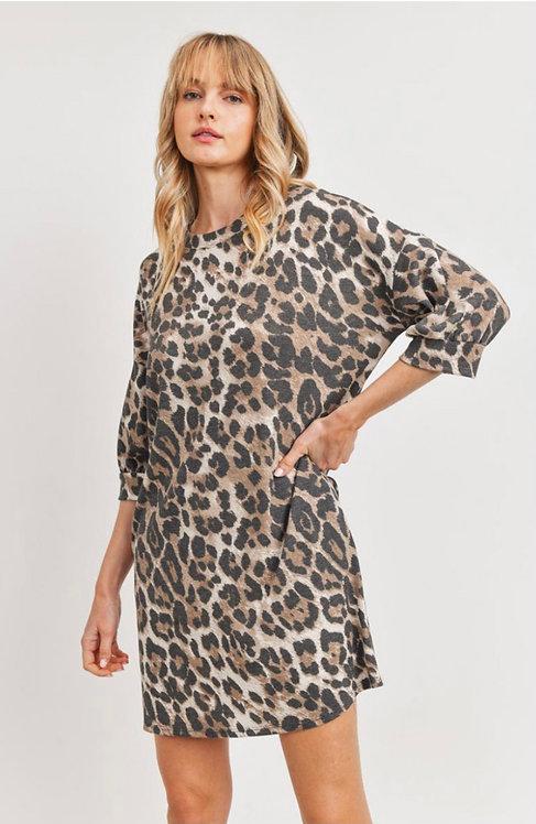 CHERISH LEOPARD THERMAL BUBBLE SLEEVE SHIFT DRESS