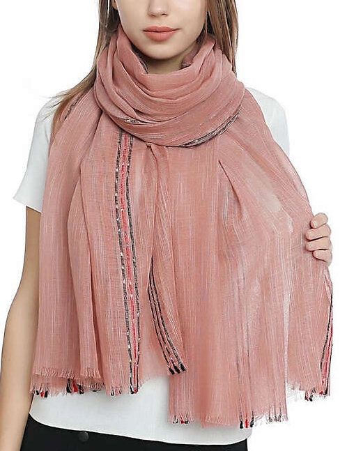 WELLCO PINK SCARF WITH BLACK STRIPE