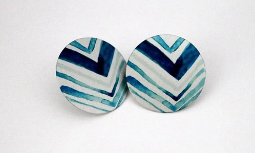 GIFTOLOGIE SMALL TEAL & WHITE PATTERNED EARRINGS