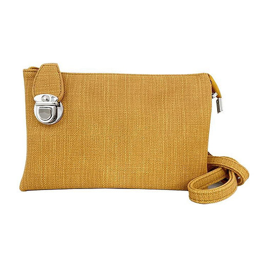 CARACOL YELLOW LINEN CLUTCH