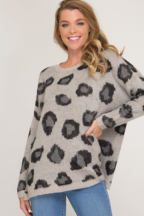 SHE AND SKY GREY LEOPARD SWEATER