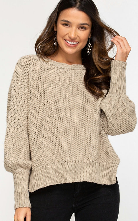 SHE AND SKY CHUNKY KNIT SWEATER WITH SIDE SLITS