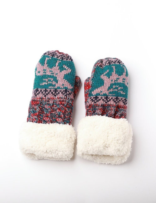 KIDS TEAL DEER MITTENS