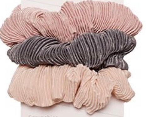 3 PACK SCRUNCHIES PLEATED TEXTURE PINK
