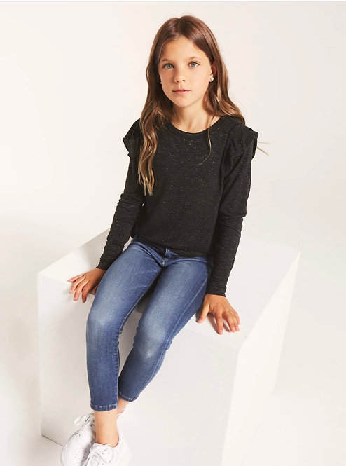 Z SUPPLY GIRLS LONG SLEEVE RUFFLE BLACK SPARKLE TOP