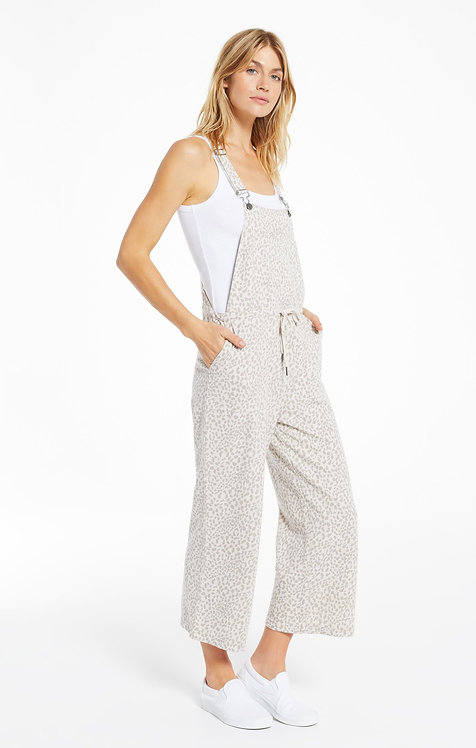 Z SUPPLY TONAL LEOPARD CINCHED WAIST OVERALLS
