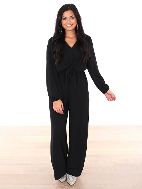 SHE AND SKY LONG SLEEVE JUMPSUIT BLACK