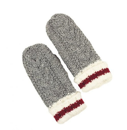 KIDS SIMI GREY, WHITE & RED MITTEN