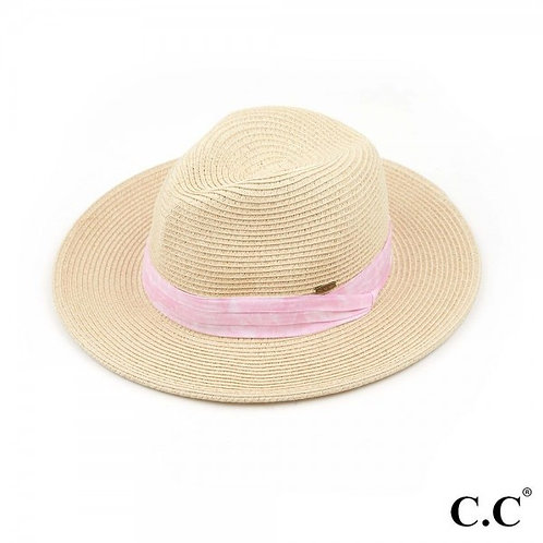 SUNHAT PINK AND WHITE FABRIC BAND
