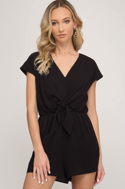 SHE AND SKY WOVEN ROMPER WITH FRONT TIE DETAIL BLACK