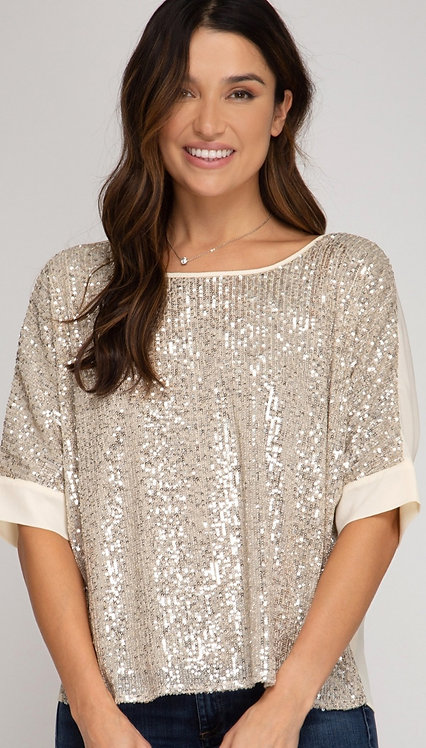SHE AND SKY 3/4 BATWING SLEEVE SEQUIN TOP
