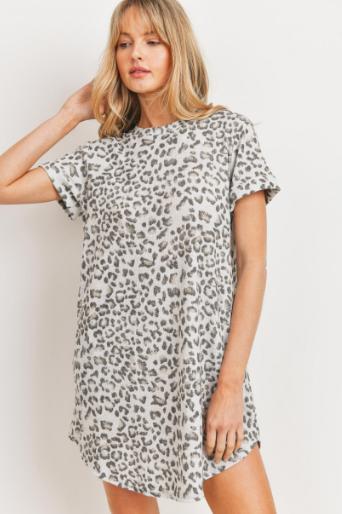 CHERISH GREY ANIMAL PRINT TEE SHIRT DRESS