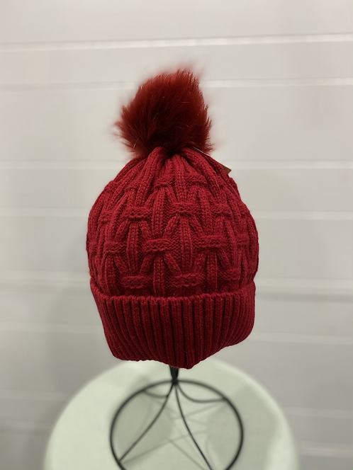 RED WEAVE KNIT TOQUE WITH RED POMPOM