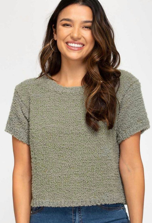 SHE AND SKY FUZZY GREEN CROP TEE