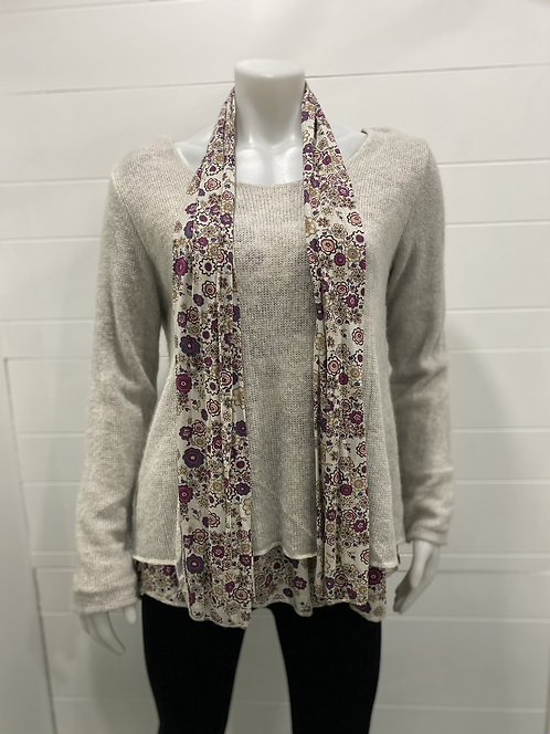 CHERISHH GREY LONG SLEEVE WITH FLOWER UNDERNEATH AND SCARF