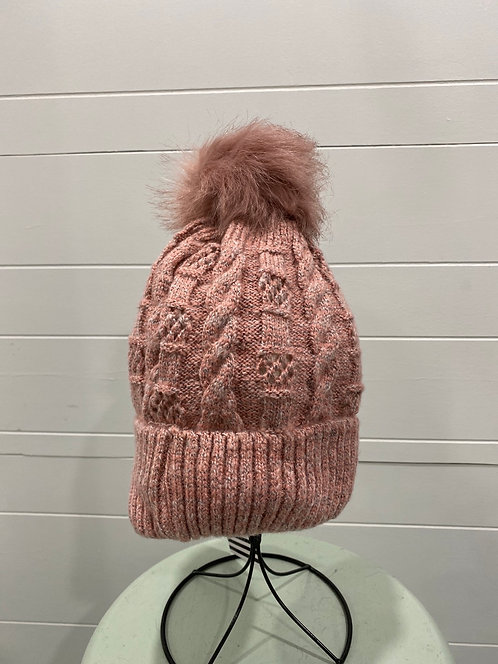 PINK TOQUE WITH PINK POMPOM