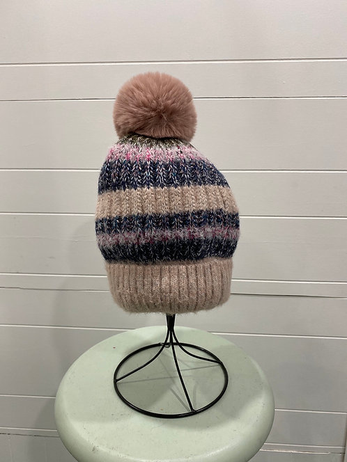 WELLCO PINK AND BLUE STRIPE TOQUE