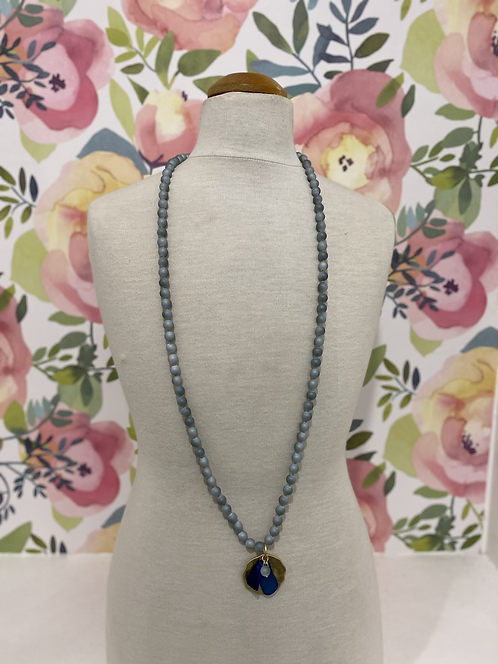 BLUE LONG BEADED NECKLACE