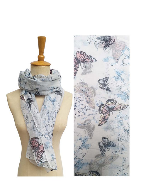 PASSIONS LIGHT WEIGHT SCARF SKY BLUE WITH BUTTERFLIES