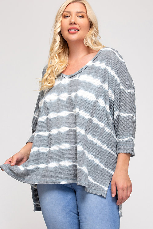SHE AND SKY 3/4 CUFF SLEEVE THERMAL KNIT TIE DYE TOP