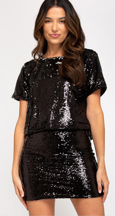 SHE AND SKY SEQUIN SKIRT