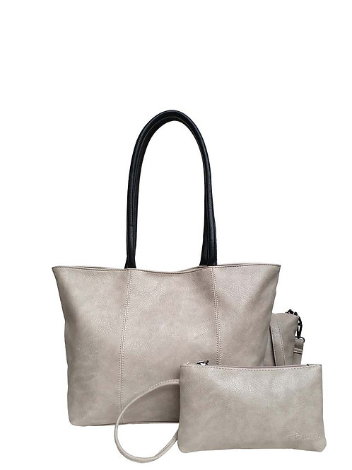 PASSIONS HANDBAG LIGHT GREY WITH SMALL CLUTCH