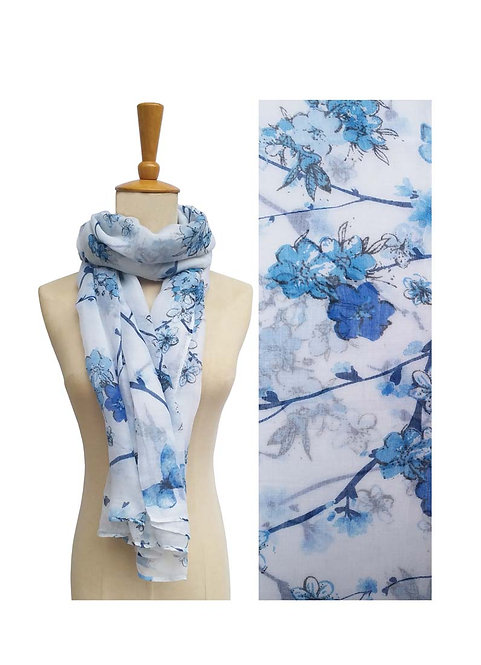 PASSIONS LIGHT WEIGHT SCARF BLUE BUTTERFLIES & FLOWERS